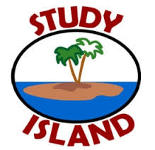 Study Island. An image of a little island with a palm tree.