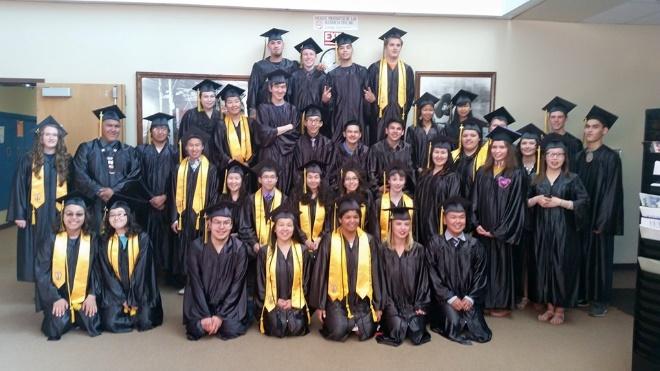 A photo of graduates.