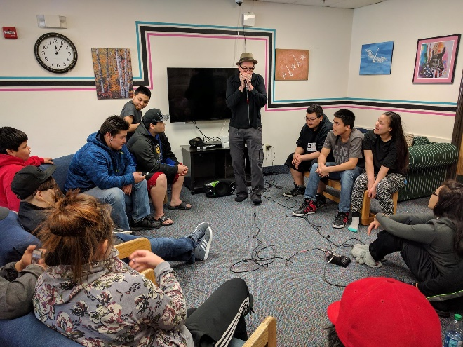 A photo of students in a housing space.