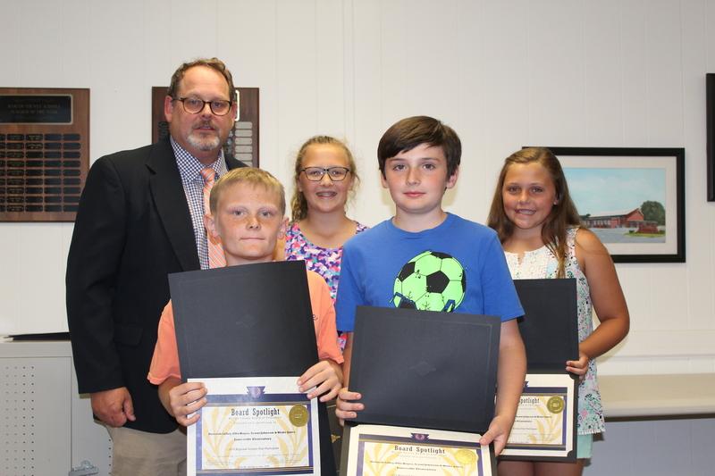 Regional Science Fair Participants: Hannah Lilley, Ella Hayes, Scout Johnson & Blake Jones. Jamesville Elementary