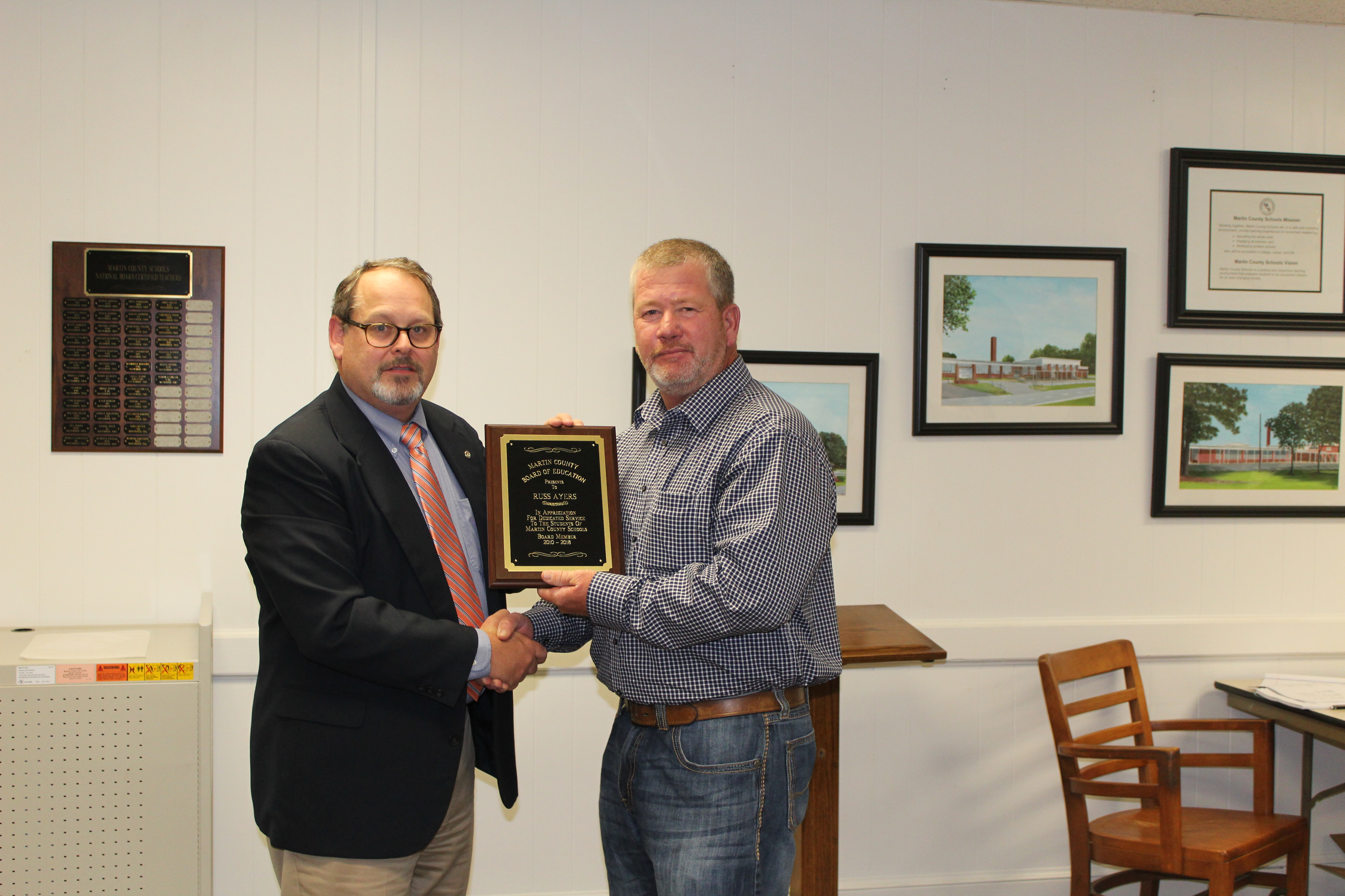 """Board Member Mr. Russ Ayers received """"Years of Service"""" Award."""
