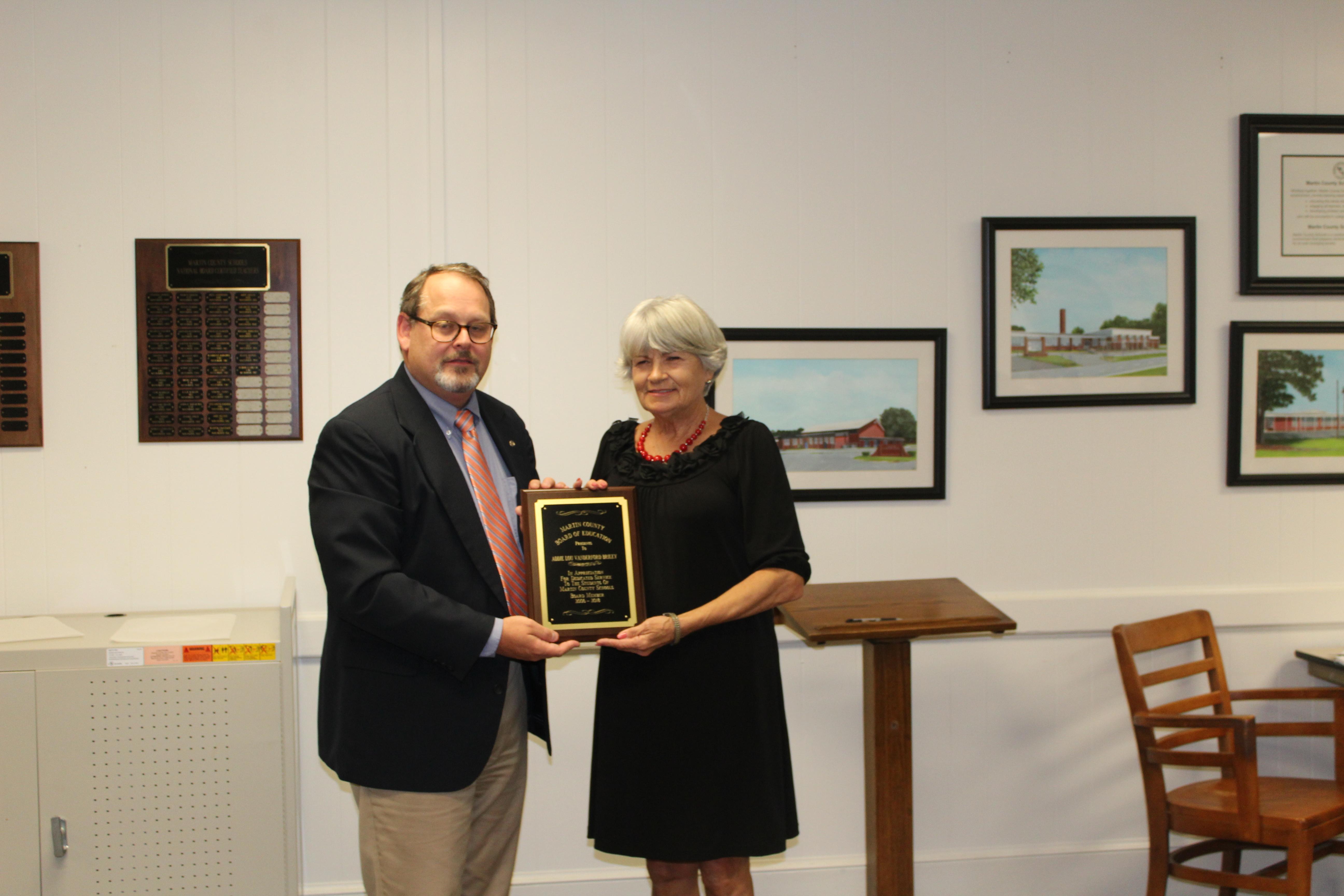 """Board Member Mrs. Addie Lou Vanderford Briley received """"Years of Service"""" award."""