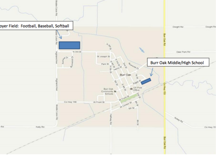 An image of a map showing the location of the Boyer Field: Football, Baseball, Softball; and the Burr Oak Middle/High School.