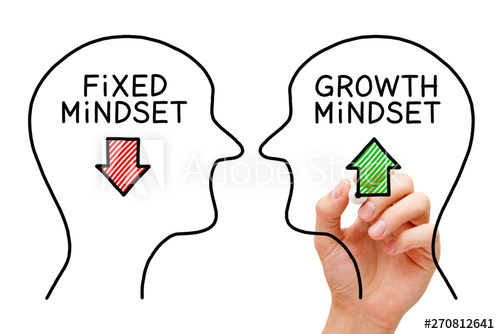 "A photo of a hand drawing 2 faces facing each other. One face has a down red arrow with the word ""Fixed Mindset"", and the other one with an up green arrow with the words ""Growth Mindset""."