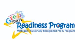 An image of Great Start Readiness Program logo. Michigan's Nationally Recognized Pre-K Program.