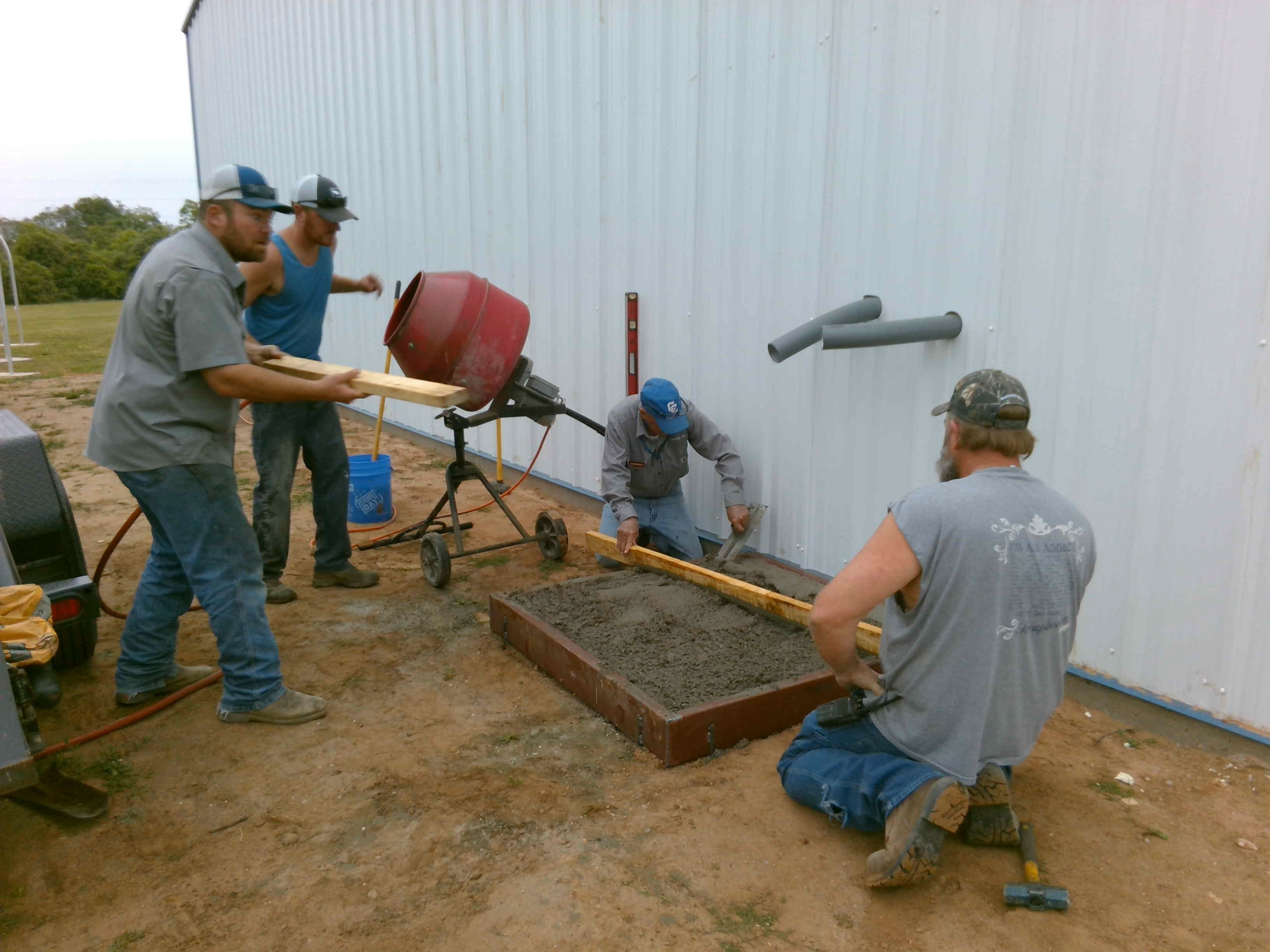 pouring cement for ac units