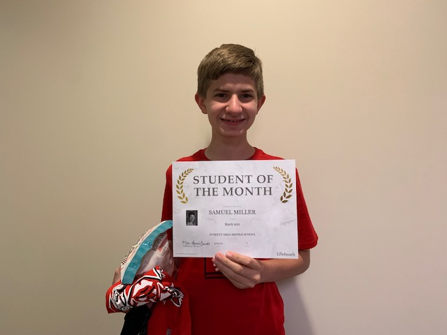7th Grade March Student Of The Month - Samuel Miller