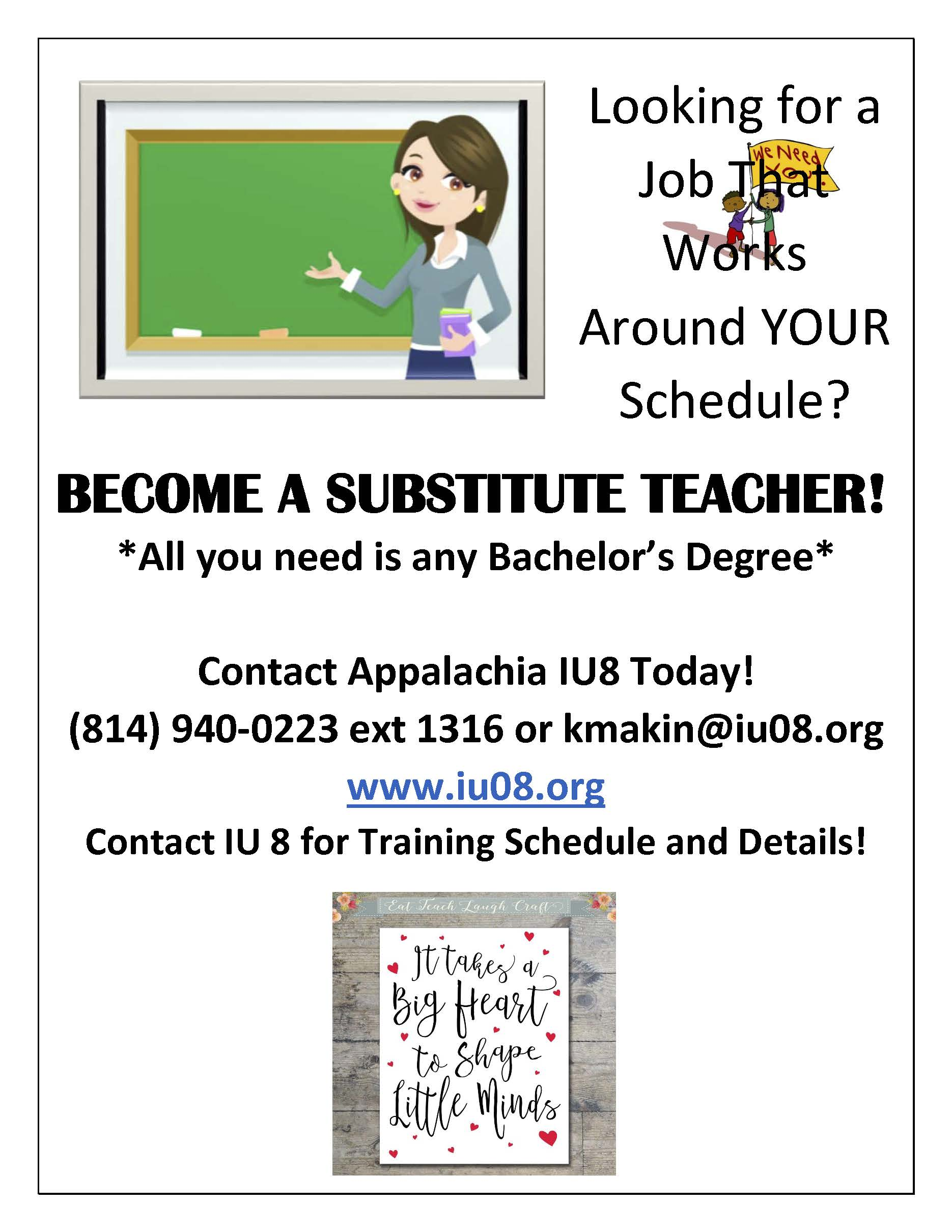 flyer with information about becoming a substitute teacher