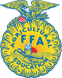 Logo of the FFA group. It's an emblem with yellow and blue colors along with an eagle perched on the upper part of the circle and an owl over by the center.