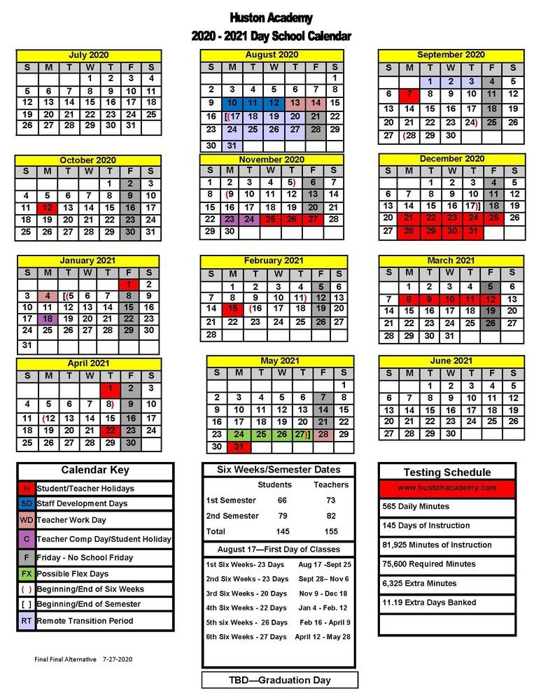 Academic Calendar for 2020-2021