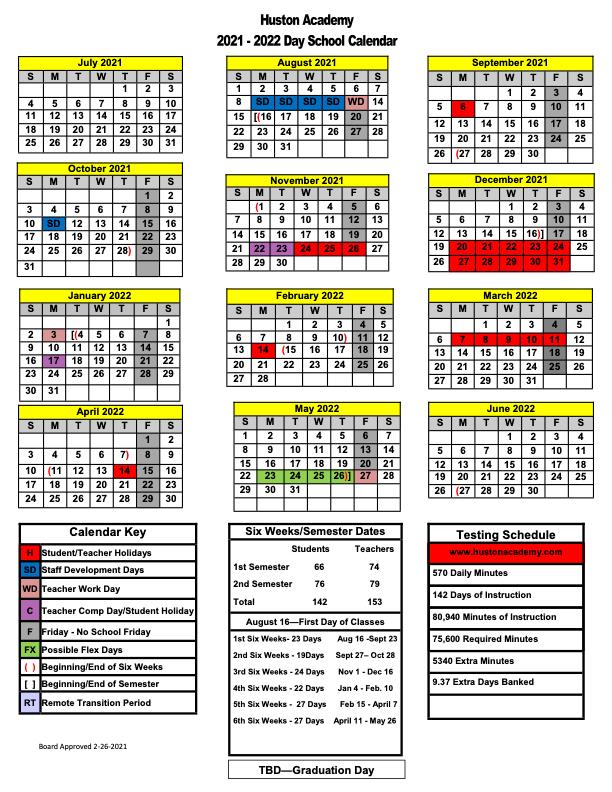 Academic Calendar for 2021-22