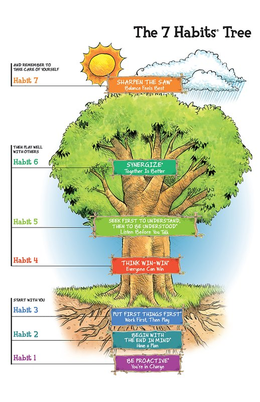 The 7 Habits Tree: Sharpen the Saw, Synergize, Seek first to understand then be understood, think win-win, put first things first, begin with the end in mind, be proactive