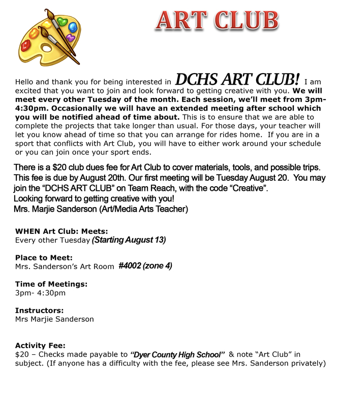 art club info sheet