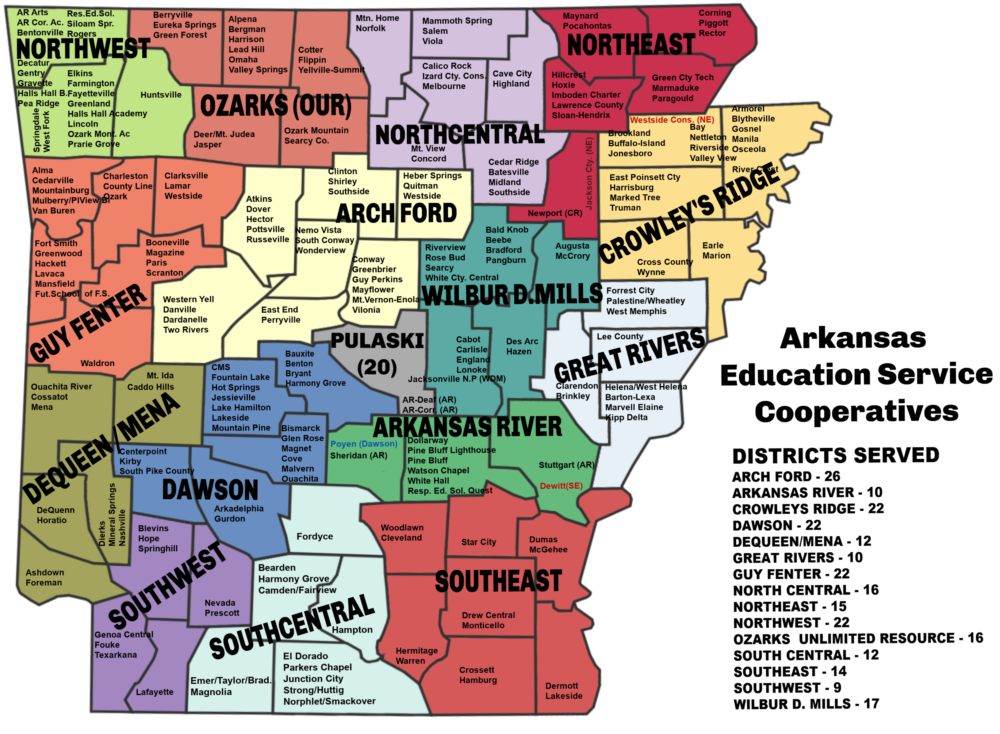 Map of Arkansas Education Service Cooperatives - Districts Served
