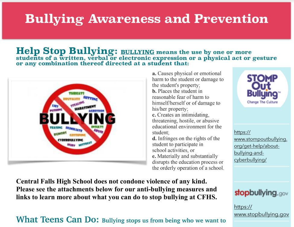 BULLYING AWARENESS AND PREVENTION FLYER