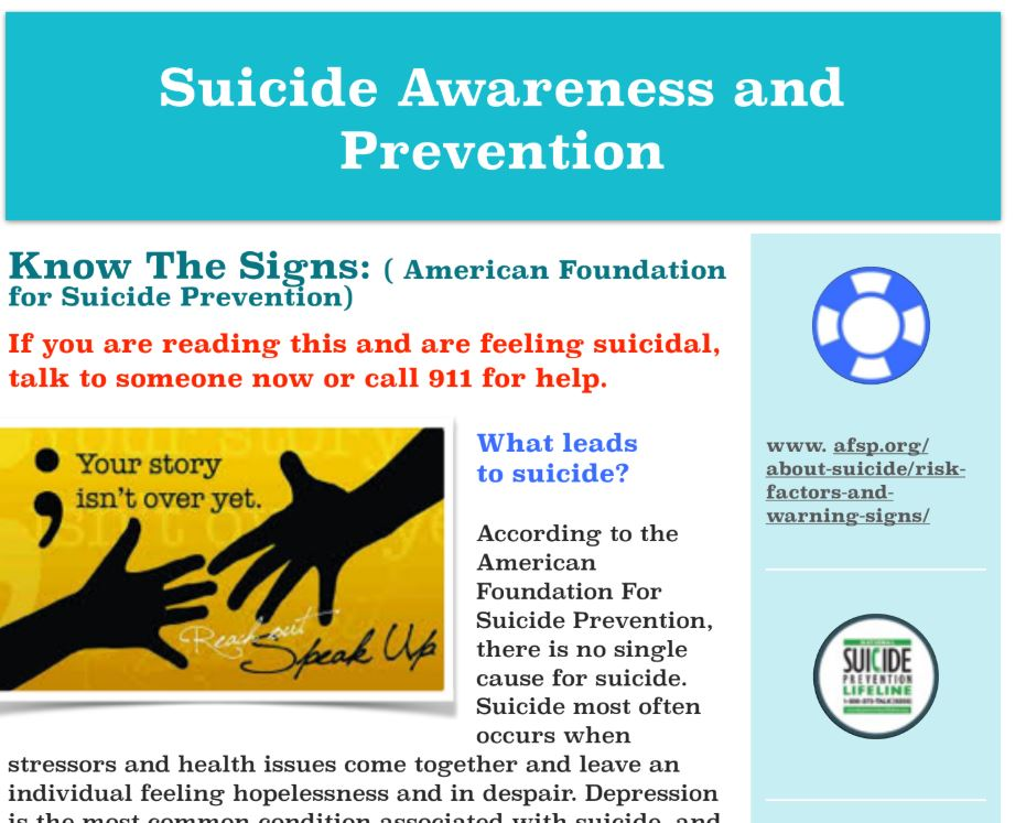 SUICIDE AWARENESS AND PREVENTION FLYER
