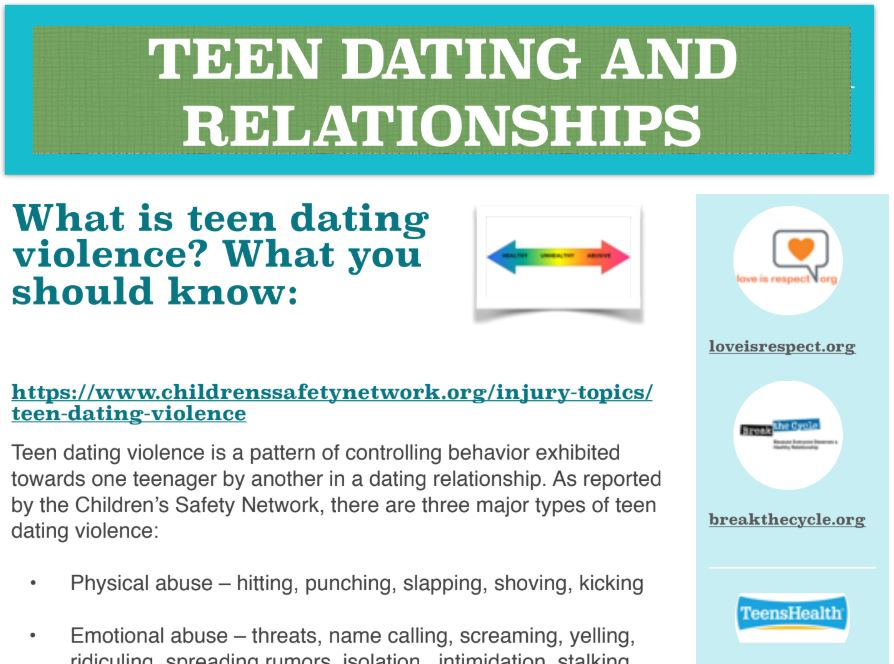 TEEN DATING AND RELATIONSHIPS INFO