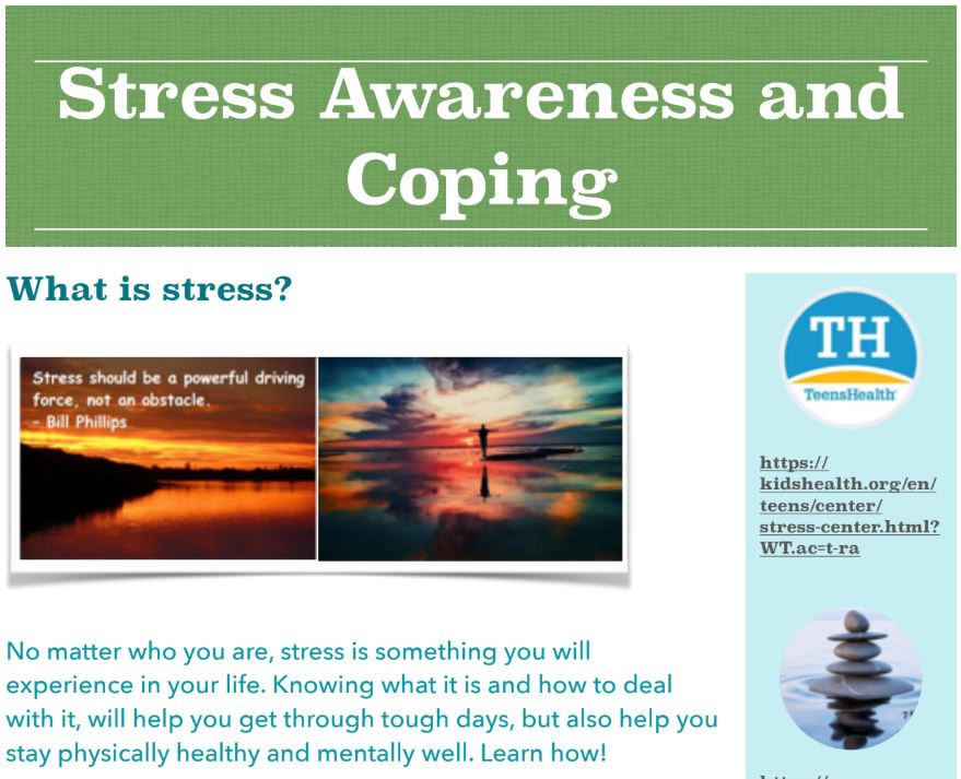 STRESS AWARENESS AND COPING INFO