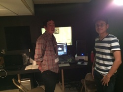 Photo of the students in the recording studio.