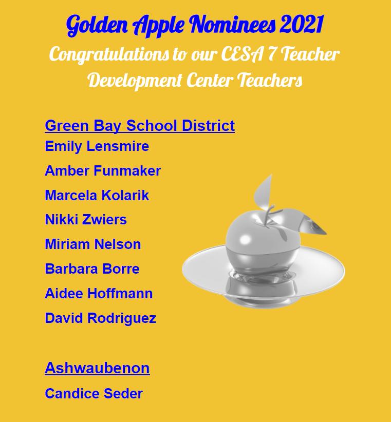 golden apple nominees 2021