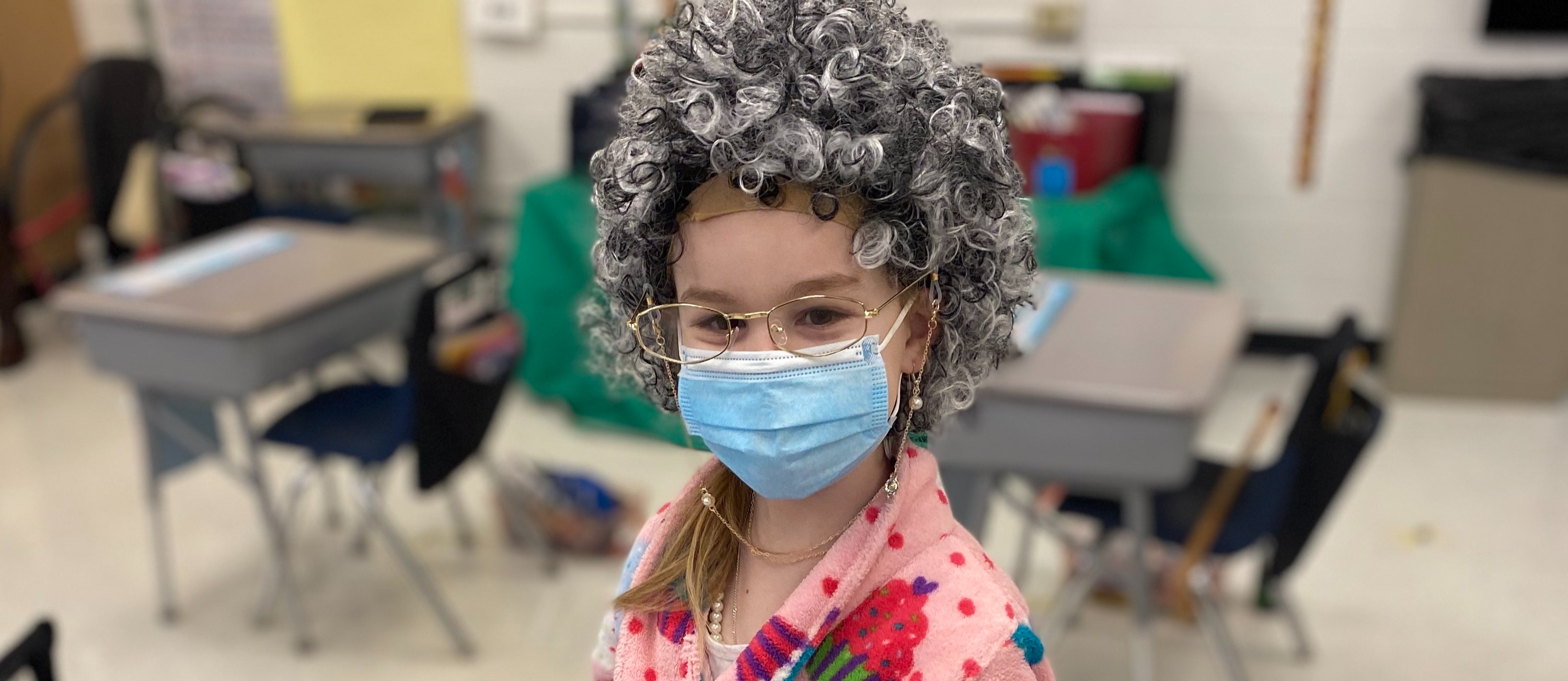 student dressed as 100 year old
