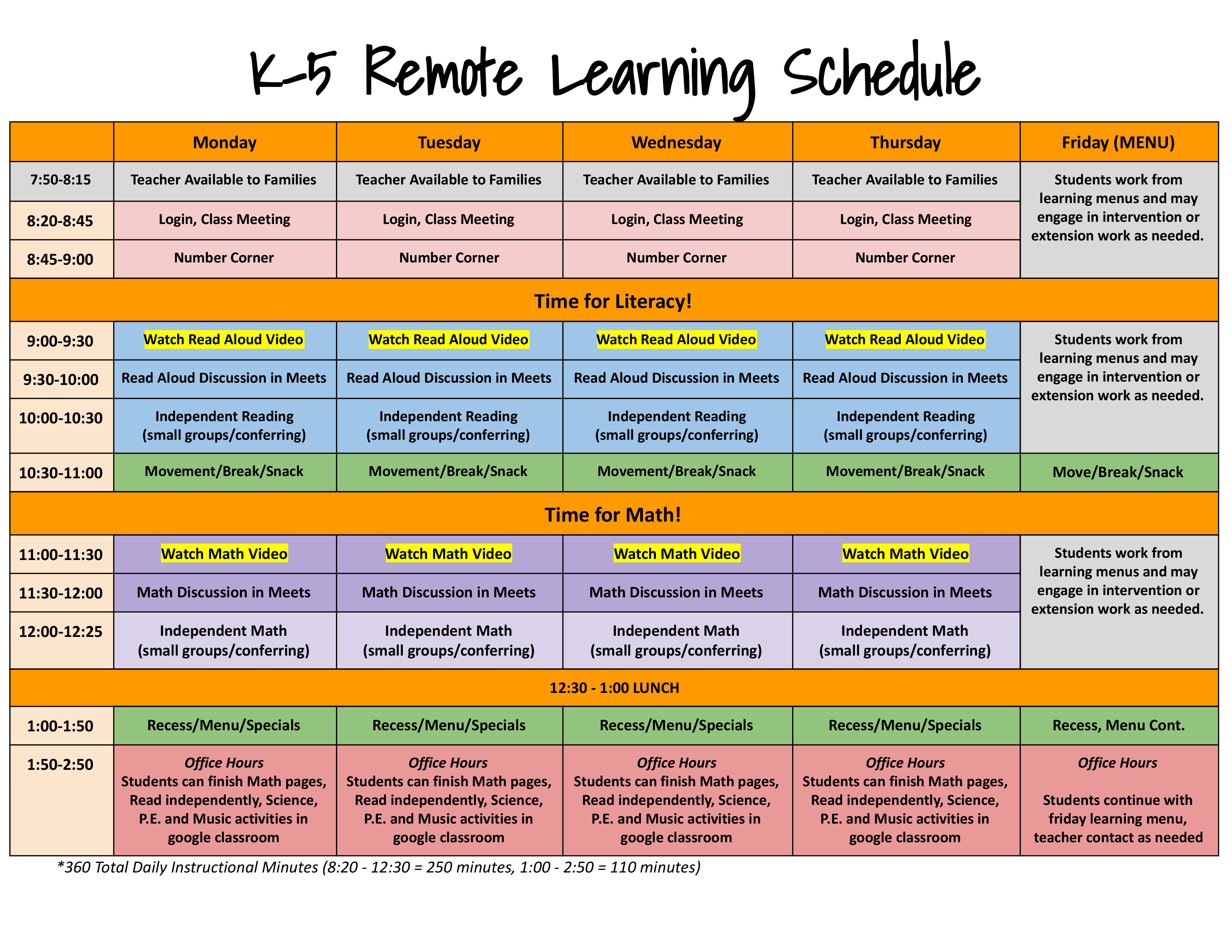 K5 Schedule