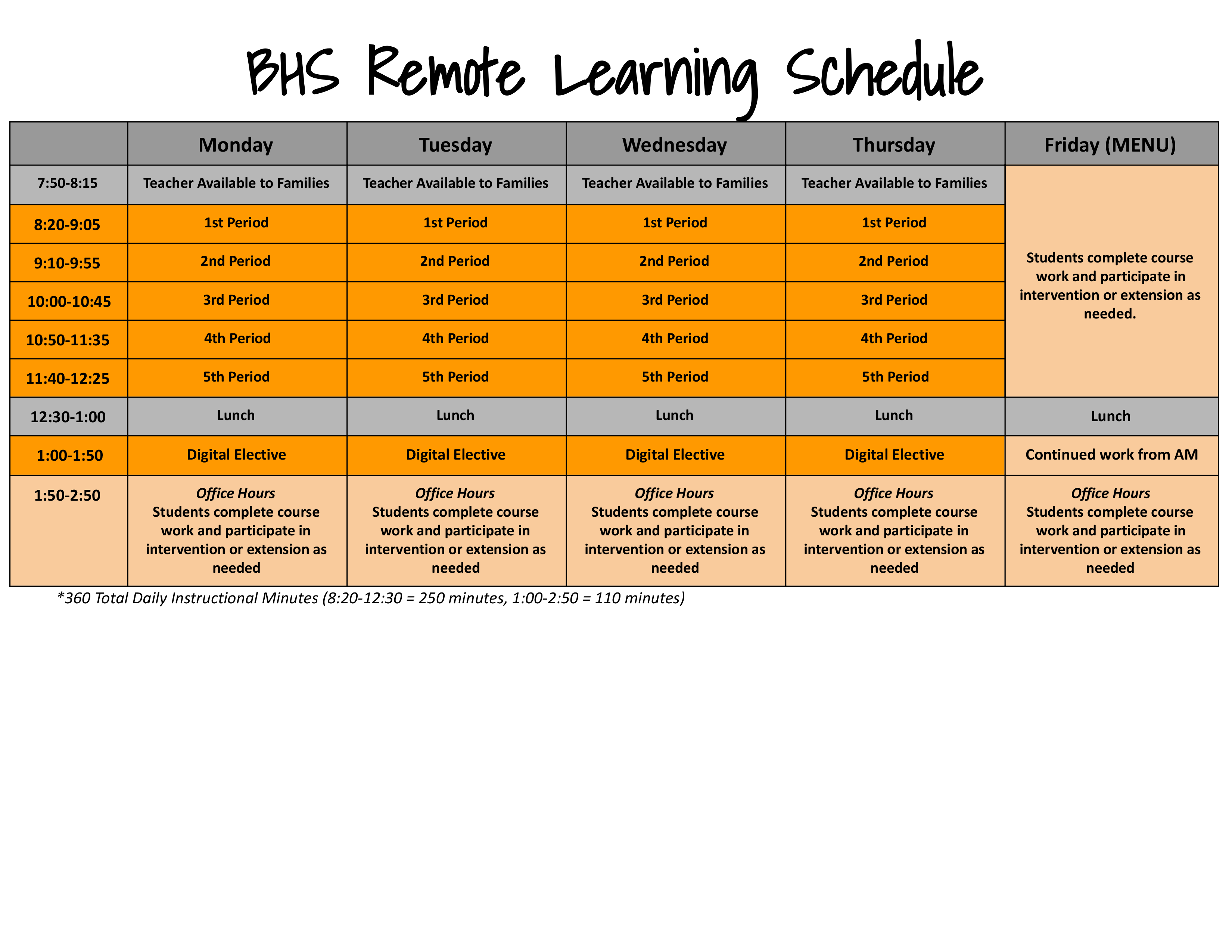 BHS Remote Schedule