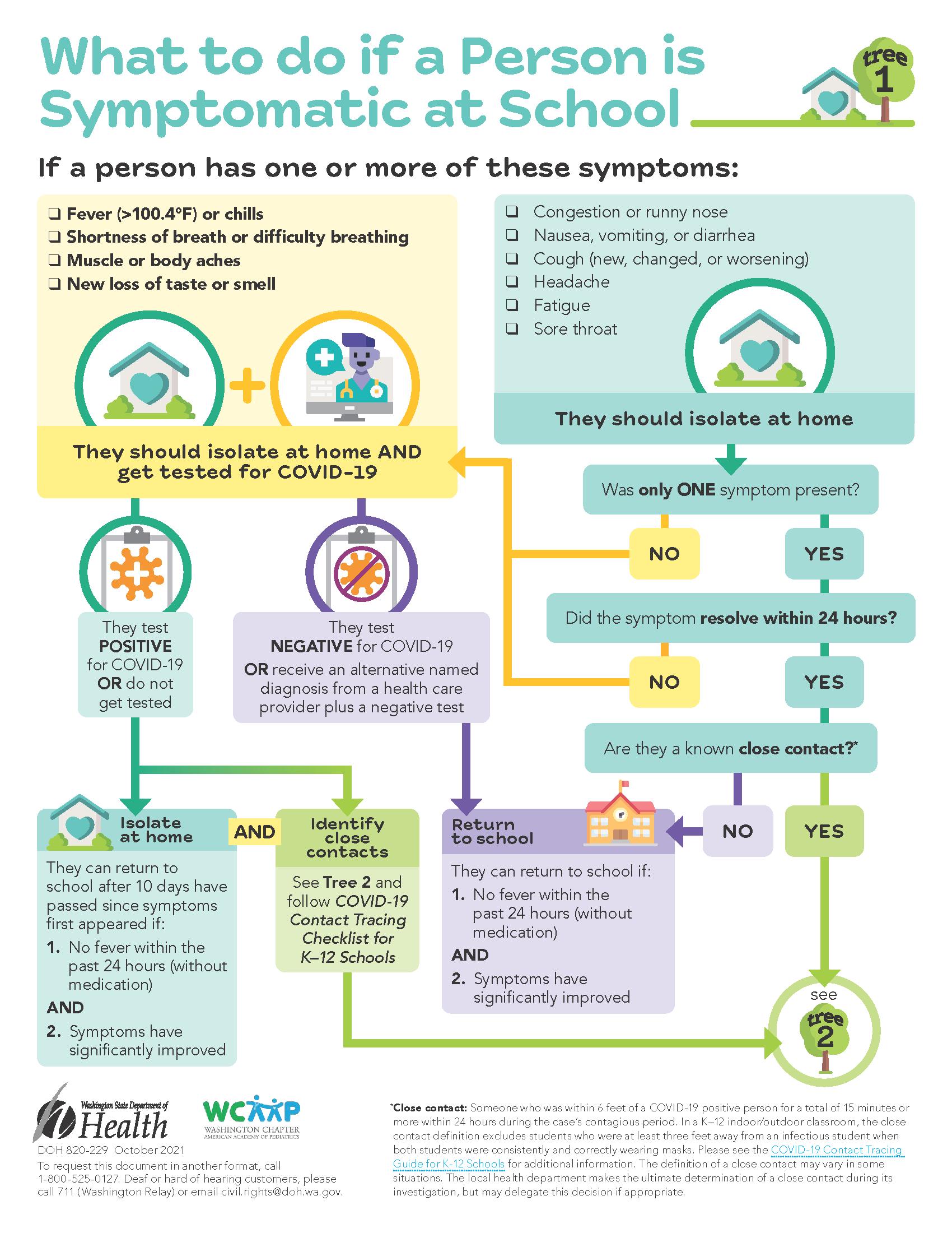 symptomatic at school flow chart