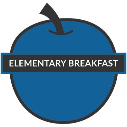 elementary breakfast text on a apple