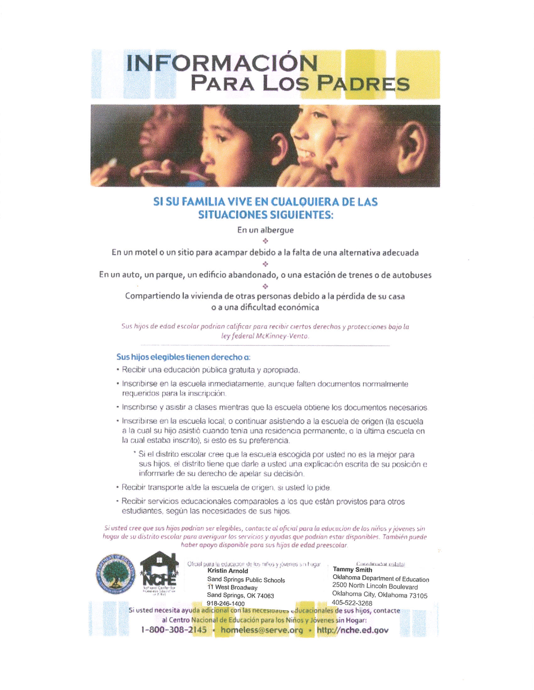 Homeless Youth Flyer- Parents-Spanish