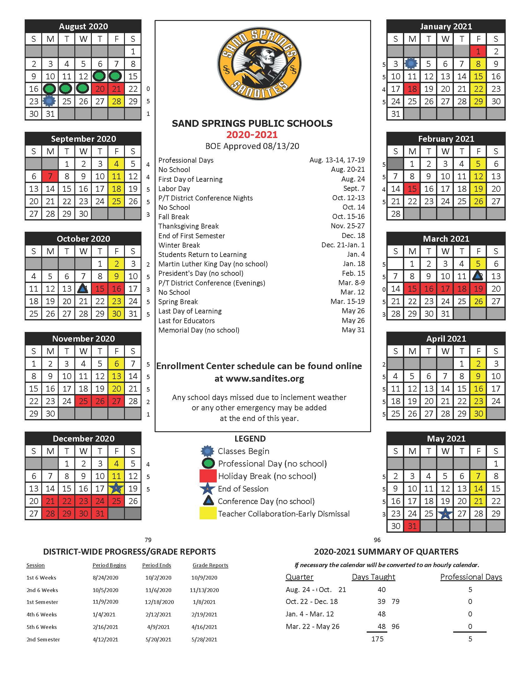 Approved calendar for the 2020-2021 SY