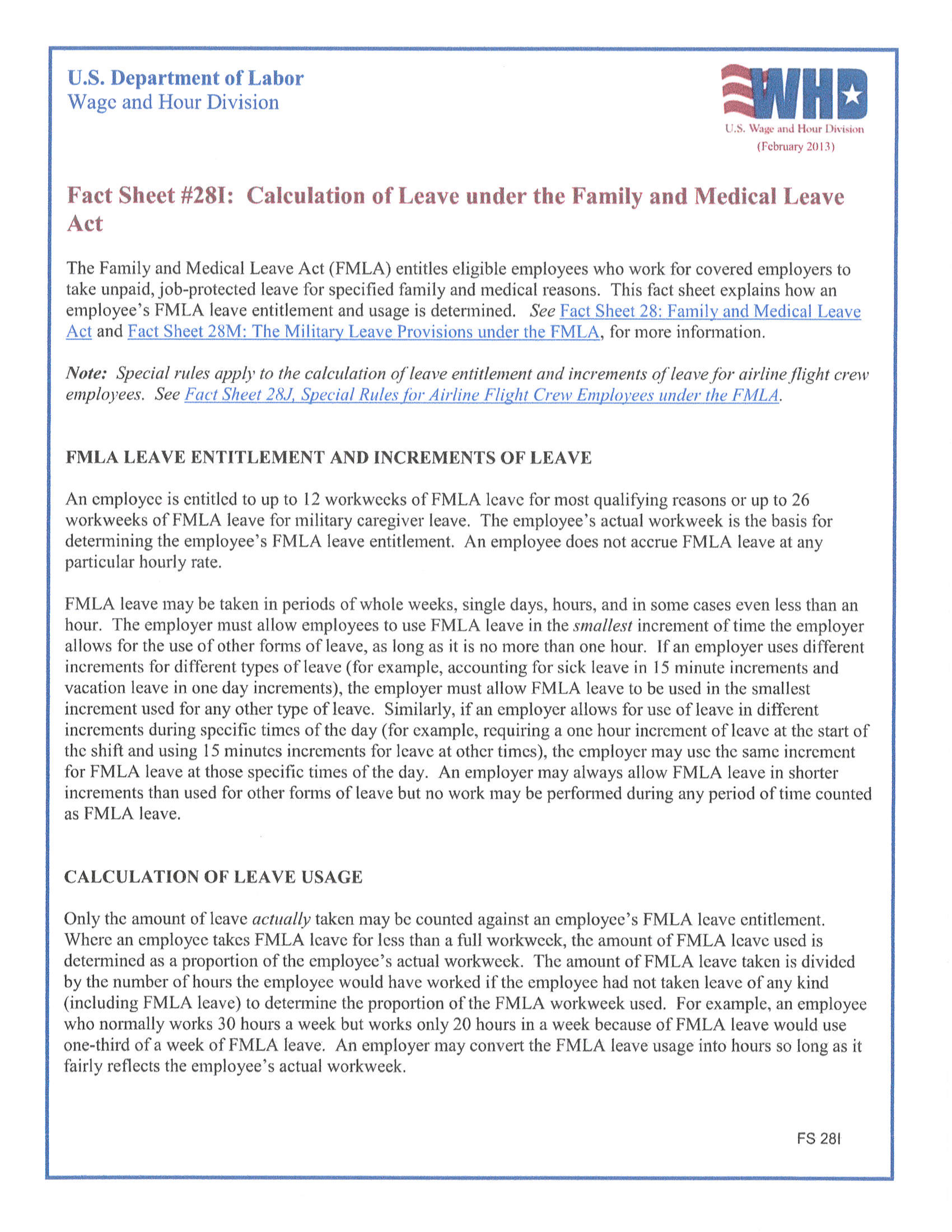 Calculation of Leave under the Family and Medical Leave Act Pg. 1