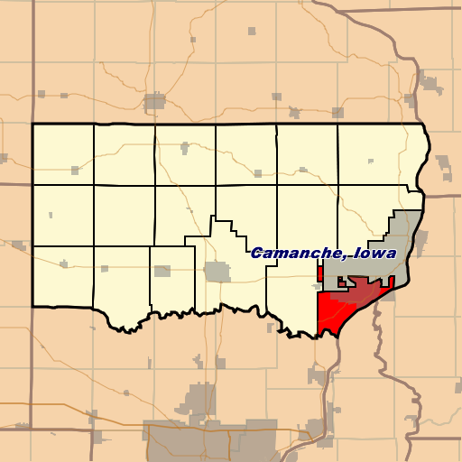 An image of the state of Iowa, highlighting the district of Camanche.