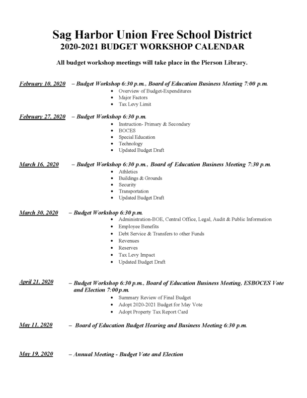 2020-2021 Budget Workshop Calendar