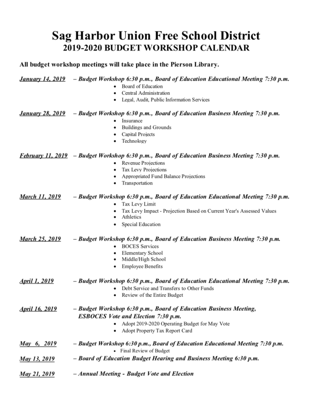 2019-2020 Budget Workshop Calendar