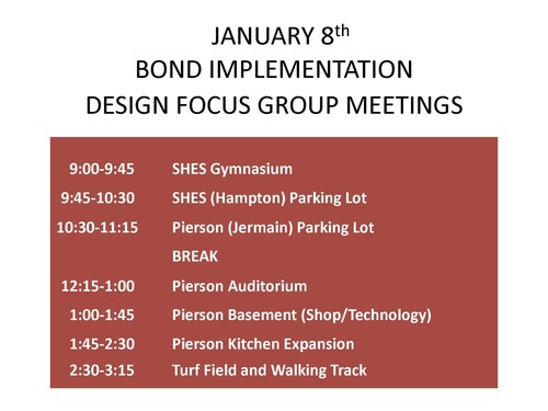 January 8th Bond Implementation Design Focus Group Meetings.
