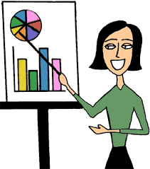 An image of a women pointing a presentation.