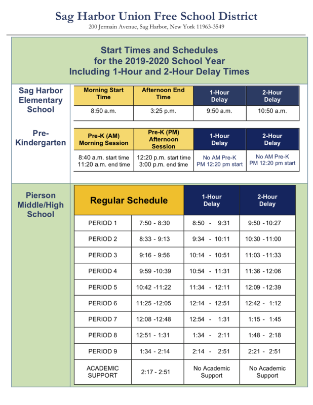 Start Times and Schedules for the 2019-2020 School Year.