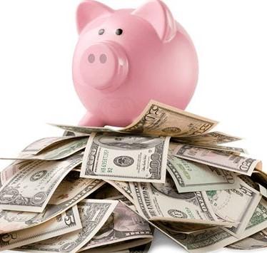 piggy bank on money photo
