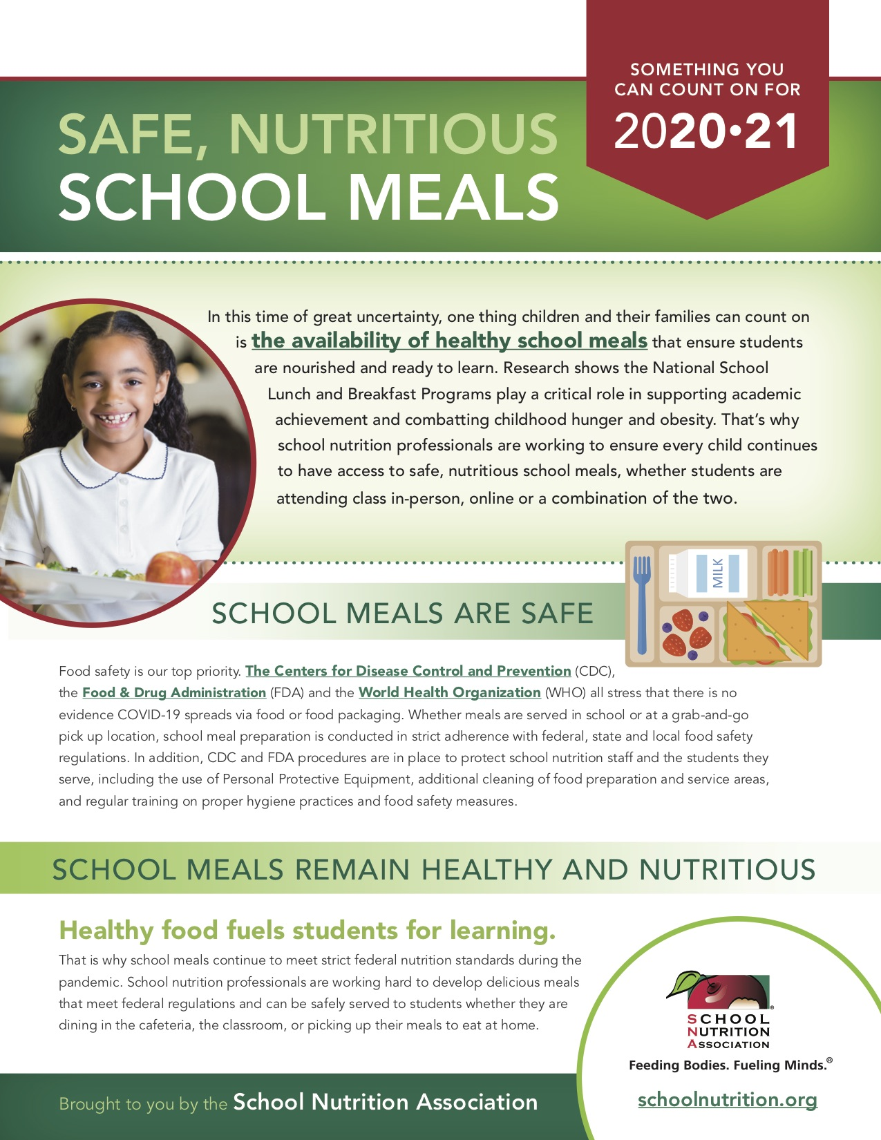 Safe Nutritious School Meals, Something you can count on for 2020-21