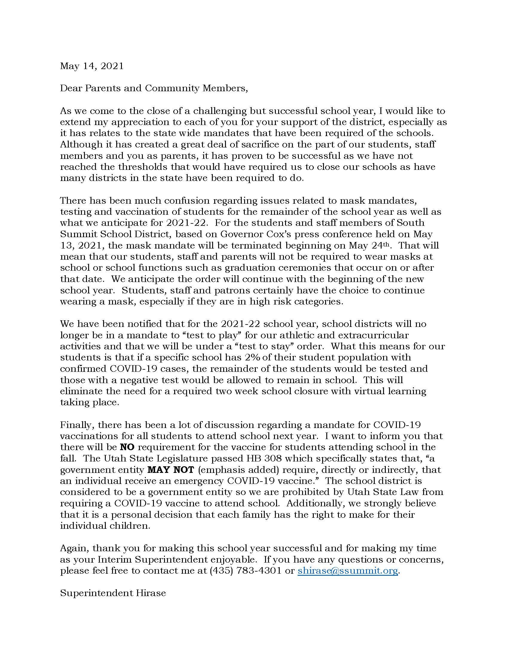 Parent letter Eng