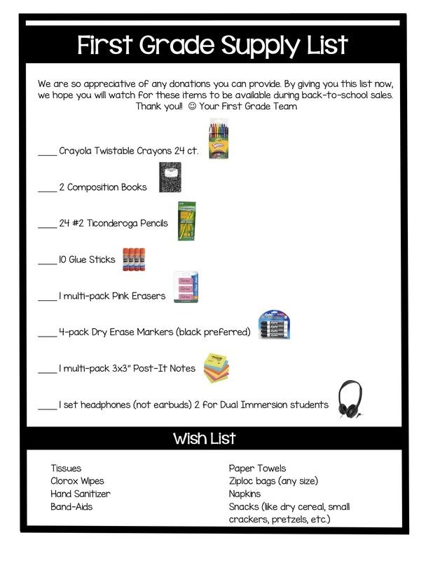 First Grade Supply List 1