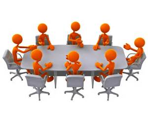 PEOPLE SITTING AROUND MEETING TABLE CLIP ART