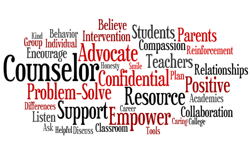 A graphic that has descriptor words of a counselor