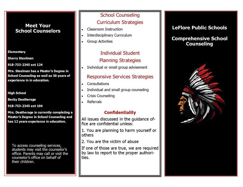 A brochure for LeFlore Public Schools Comprehensive School Counseling