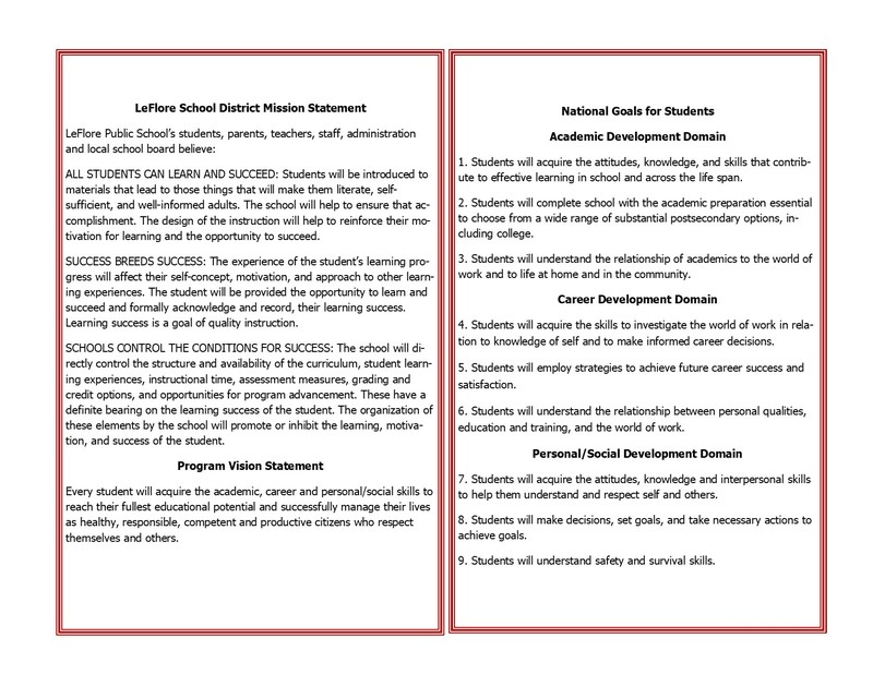Information about LeFlore Public Schools including the district mission statement, vision statement, and national goals for students