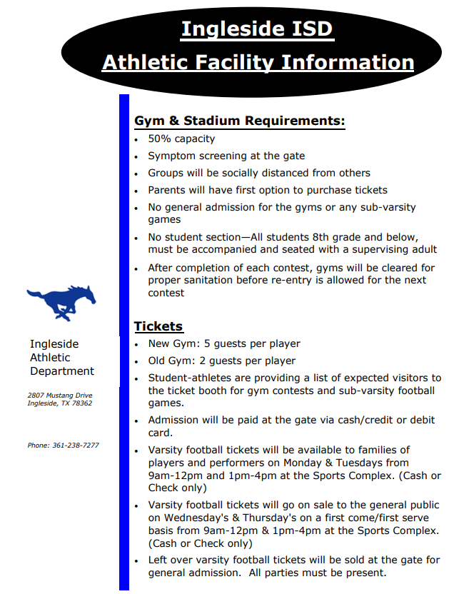 GYM / STADIUM REQUIREMENTS AND TICKET INFORMATION