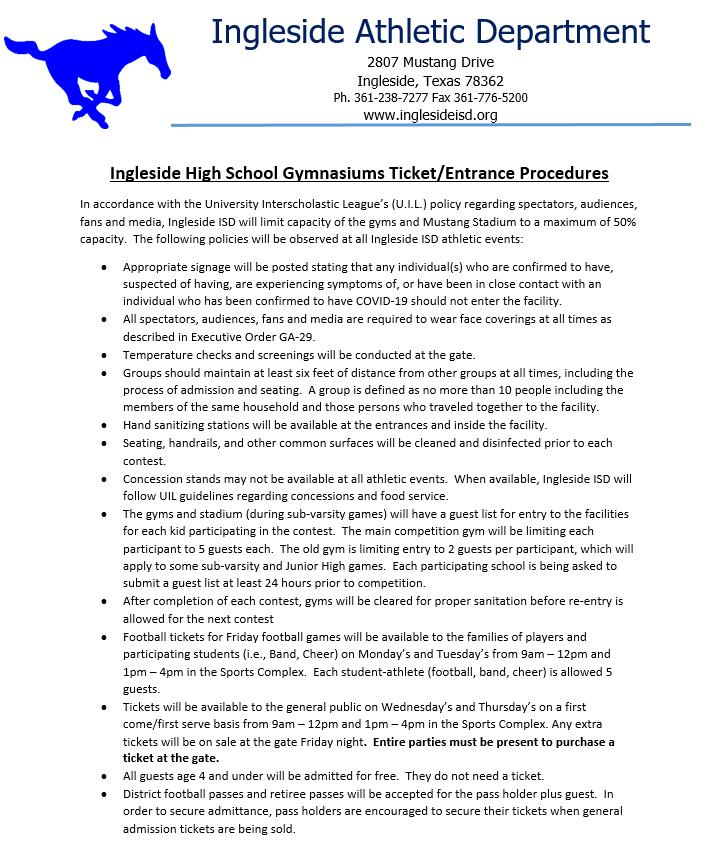 INGLESIDE HIGH SCHOOL GYM TICKET / ENTRANCE PROCEDURES