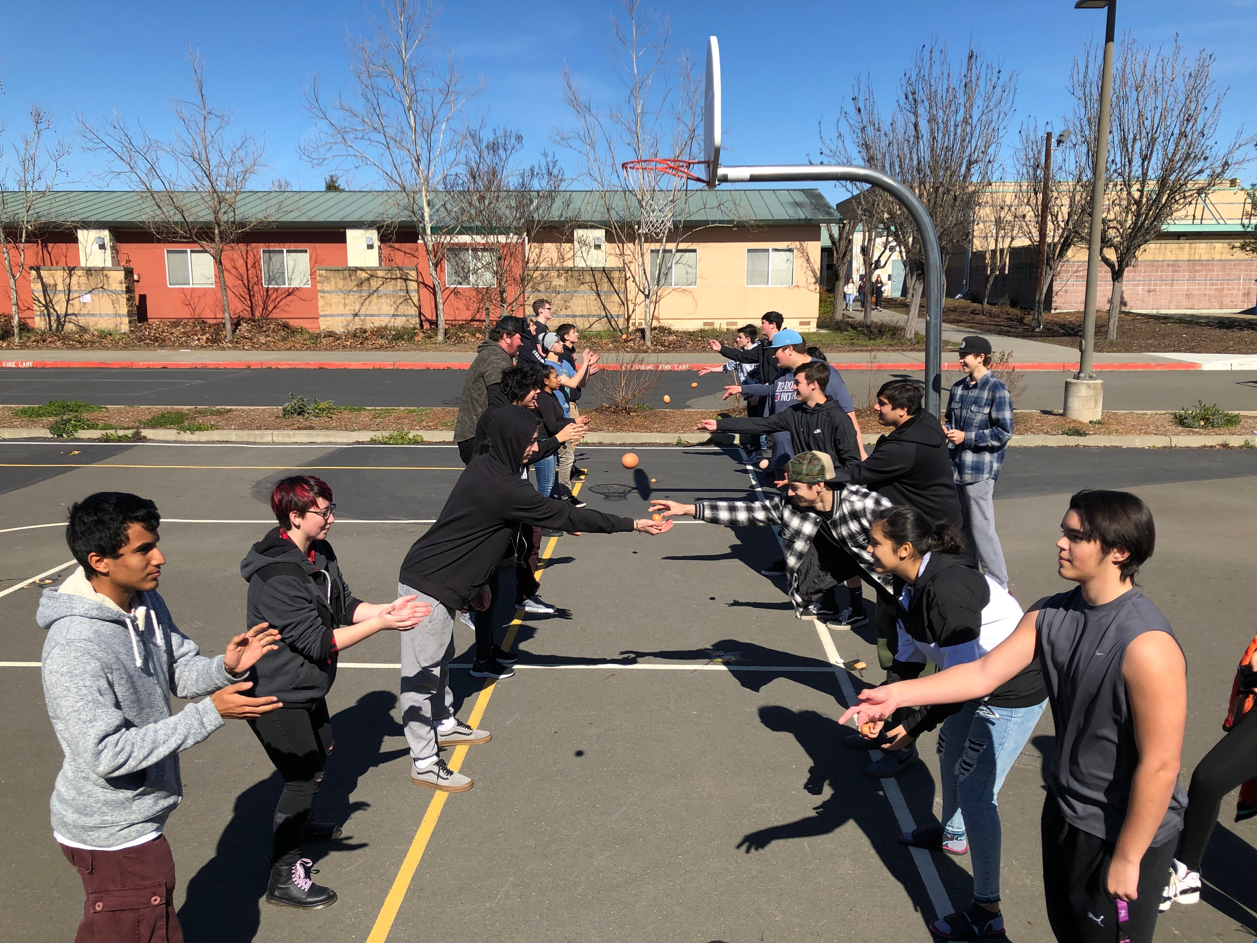 A photo of students playing outside.