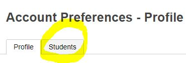 ACCOUNT PREFERENCES - PROFILE - STUDENTS TAB